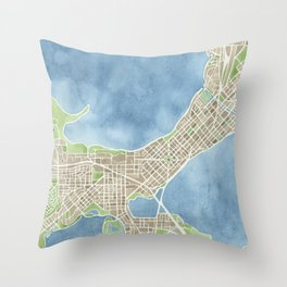 City Map Madison Wisconsin watercolor  Throw Pillow