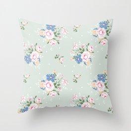 Heirloom Rose - Sage Green Throw Pillow