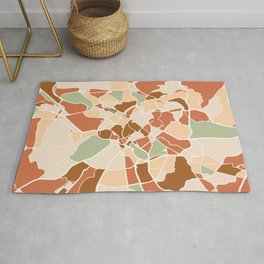 ROME ITALY CITY MAP EARTH TONES Rug