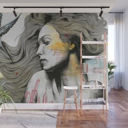 Monument (long hair girl with bird and skyline tattoo) Wall Mural