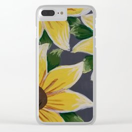 Handmade Sunflower Painting Clear iPhone Case