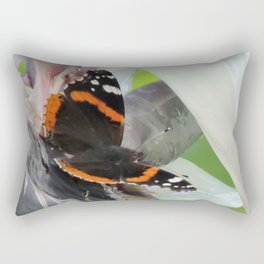 Red Admiral on a White Bird of Paradise Bloom Rectangular Pillow