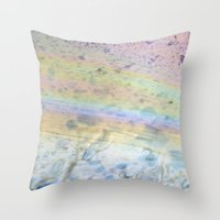 oil Throw Pillows featuring Oil by Miss Meow