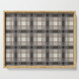 Brown Plaid with tan, cream and gray Serving Tray