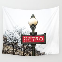 Paris Metropolitan Sign in Red Wall Tapestry