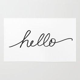 Hand lettered hello - Sharpie marker handwriting Rug