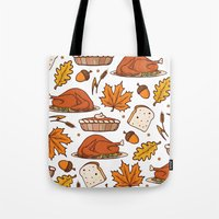 thanksgiving Tote Bags featuring thanksgiving by Ceren Aksu Dikenci