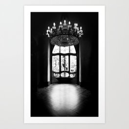 Gaudi in Barcelona Black and White Art Print