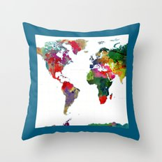 World Map - Watercolor Throw Pillow
