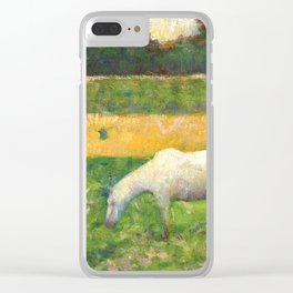 "Georges Seurat ""Paysage avec cheval (Landscape with a white horse)"" Clear iPhone Case"
