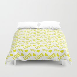Love Heart Yellow Duvet Cover