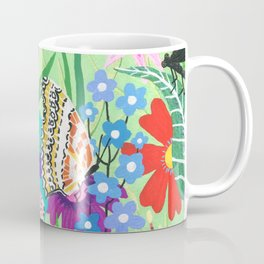 Butterfly and Moths Pattern - Green Coffee Mug