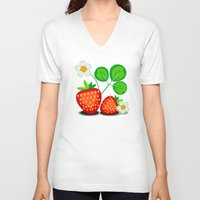 strawberry V-neck T-shirts featuring Strawberry by LaDa