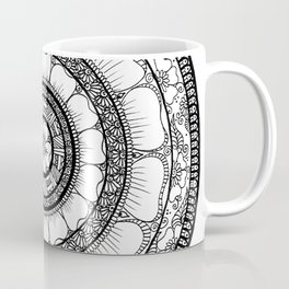 Circle - Mandala - Love Wealth Health Youthfulnes - White Black Coffee Mug