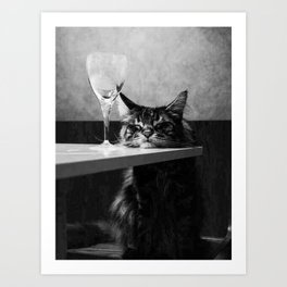 The Nightwatch Cat at the Absinthe bar black and white photograph / art photography Art Print