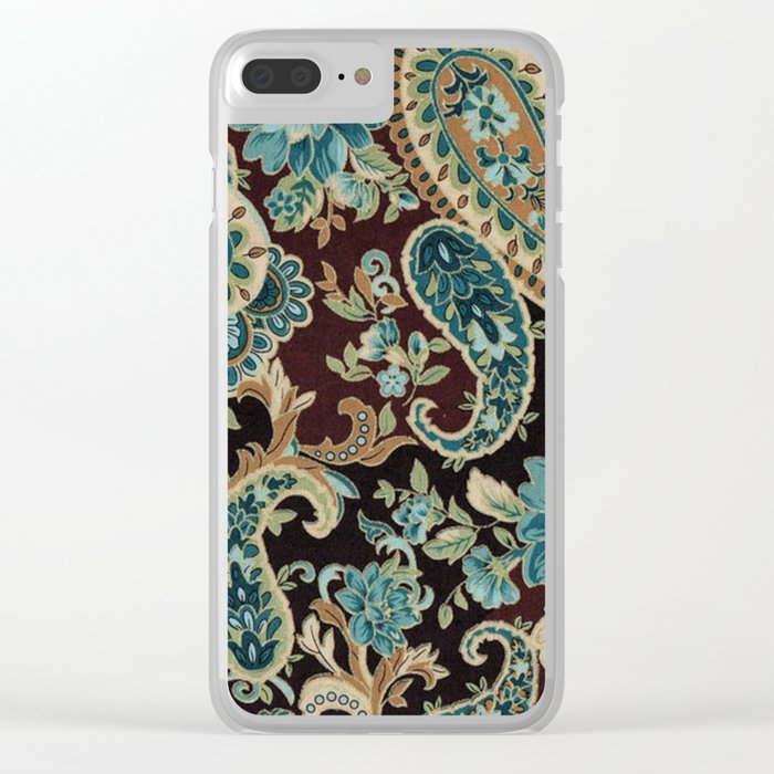Brown Turquoise Paisley Clear iPhone Case