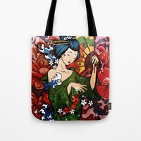 geisha Tote Bags featuring Geisha by Spooky Dooky