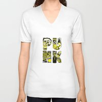 punk V-neck T-shirts featuring PUNK by René Barth