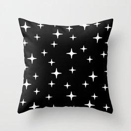Mid Century Modern Star Pattern 443 Black and White Throw Pillow