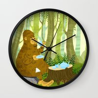 bigfoot Wall Clocks featuring Bigfoot Busted by Tim Paul