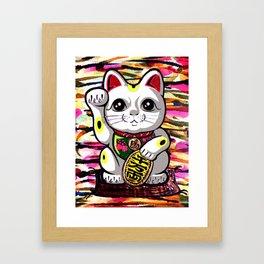 Maneki Neko lucky fortune beckoning japanese waving feng shui kitty for wealth gold moderngift Framed Art Print