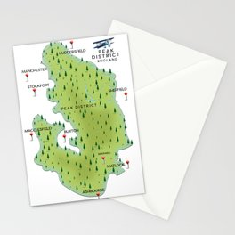 Peak District England map Stationery Cards