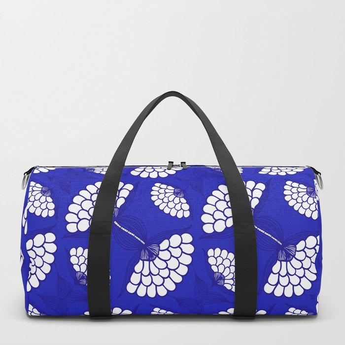 African Floral Motif on Royal Blue Duffle Bag