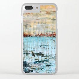 Western Lake Florida Landscape abstract mixed media Clear iPhone Case