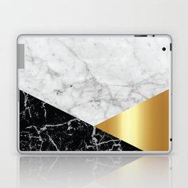White Marble - Black Granite & Gold #944 Laptop & iPad Skin