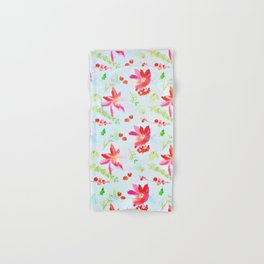 Bright Peach Pink Watercolor Flowers Hand & Bath Towel