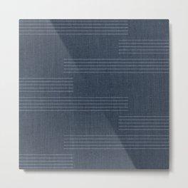 Minimal Striped Pattern, Navy Blue Metal Print