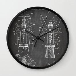 Cork Screw Patent - Wine Art - Black Chalkboard Wall Clock
