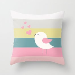 Lovely bird blue stripe Throw Pillow