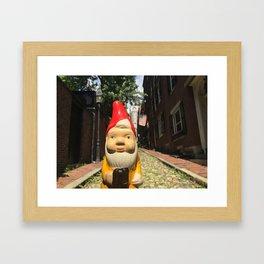 Gnome on Acorn Street in Beacon Hill, Boston, Massachusetts Framed Art Print