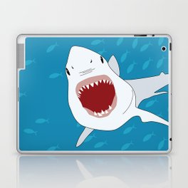 Shark Attack Underwater With Fish Swimming In The Background Laptop & iPad Skin