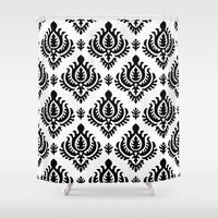 baroque Shower Curtains featuring Black Baroque by Pattern Design