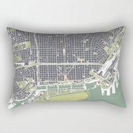 Buenos aires city map engraving Rectangular Pillow