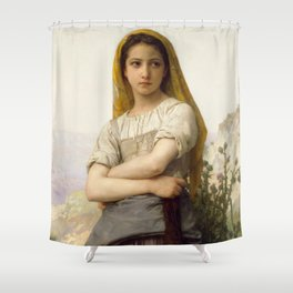 """William-Adolphe Bouguereau """"Young girl"""" Shower Curtain"""