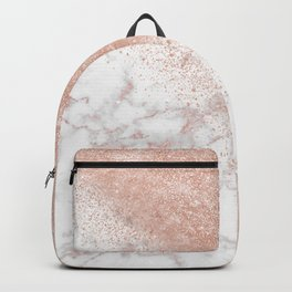Elegant faux rose gold confetti white marble image Backpack