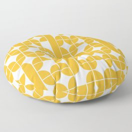 Mid Century Modern Geometric Pattern Yellow Floor Pillow