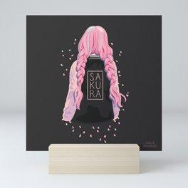 Sakura Girl Pink Petals & Black Background Mini Art Print