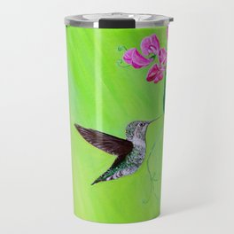 Hummingbird & Sweet Peas Travel Mug