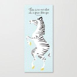 Blue Zebra (Dr. Seuss quote) Right Canvas Print