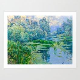 Václav Radimský (1867-1946) At The Confluence Colorful Bright Impressionist Oil Landscape Painting Art Print