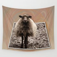 sheep Wall Tapestries featuring Sheep Stare by Roger Wedegis