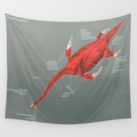 muscle Wall Tapestries featuring Elasmosaurus Muscle Study by Rushelle Kucala Art