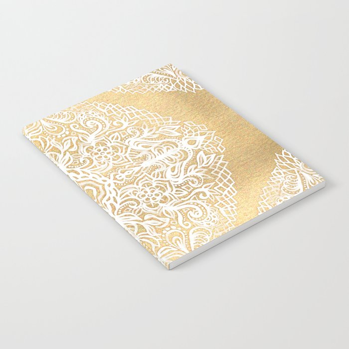 White Gouache Doodle on Gold Paint Notebook