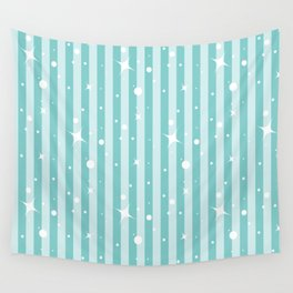 Blue Christmas Glitter Stripes Wall Tapestry