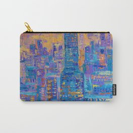 Manhattan, palette knife abstract vibrant new york city skyline sunset cityscape Carry-All Pouch