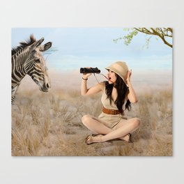 """Safari"" - The Playful Pinup - Khaki Safari Pin-up Girl by Maxwell H. Johnson Canvas Print"